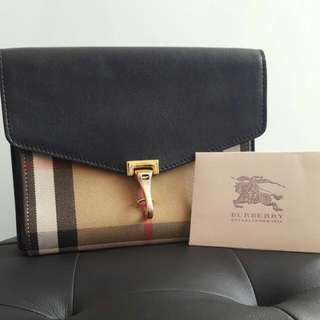 Burberry Small Leather & House Check Bag