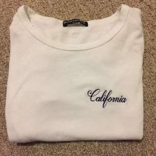 white california embroidered crop top from brandy melville