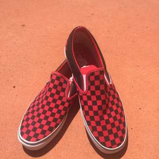 Men's Vans - Red and Black Checkerboard Slip On