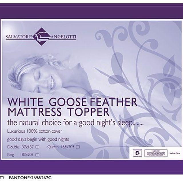 100% White Goose Feather Mattress Topper -King