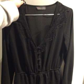 Black Playsuit With Long Sleeves