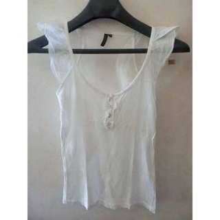 Topshop White Cotton Top
