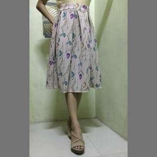 Long Peach Floral Skirt