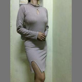 Bodycon Cut Out Turtle Neck With Slit