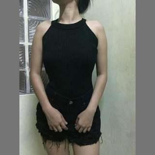 Knitted Halter Top In Black