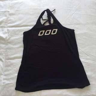 Plain Black Tie Back Singlet With LJ Logo On Front