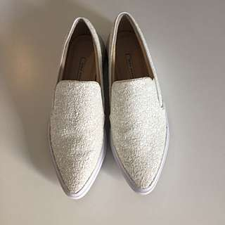 Zara White Sneakers With Shimmering