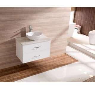 750mm Bathroom Vanity Ceramic Basin Stone Top Modern Ensuite Wall Mount