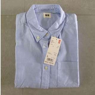 Oxford Long Sleeve Shirt/Blouse | UNIQLO | Baby Blue