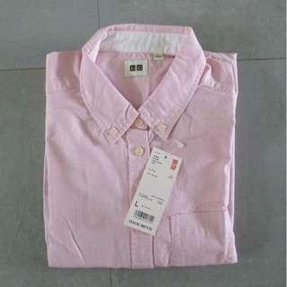 Oxford Long Sleeve Shirt/Blouse | UNIQLO | Pink