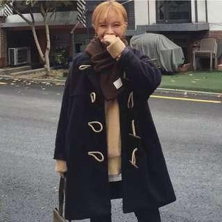 ✨實搭照✨日本雜誌出現款日系學院風必備質感牛角扣文青乖巧藍長版大衣外套 貓咪曬月亮 水莎 starmimi Zara