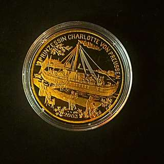 2003 Korea Prinzessin Chalotte von Preussen Ship 1 Won Brass-Golden Coin Proof-Struck