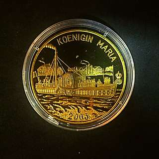 2003 Korea Koenigin Maria Ship 1 Won Brass-Golden Coin Proof-Struck