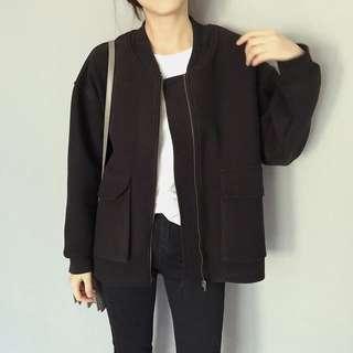💕酷女孩要穿✨韓版質感帥氣落肩蓋屁股口袋毛料飛行外套 vii&co Zara 雜誌款  fashionforyes