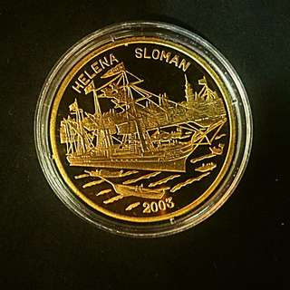 2003 Korea Helena Sloman Ship 1 Won Brass-Golden Coin Proof-Struck
