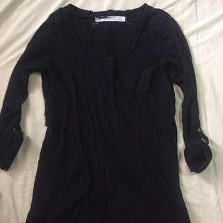 Zara Black Basic 3/4 Sleeves
