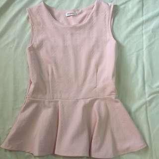 Peach Pink Peplum Top