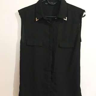 Zara sleeveless top w/ gold collar stud