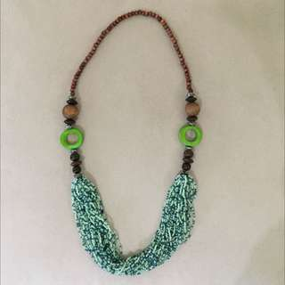 Blue Green Wooden Necklaces