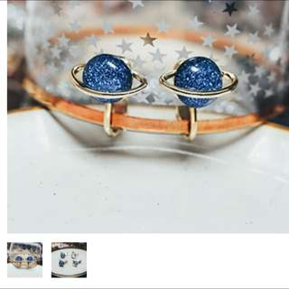 星球夾式耳環