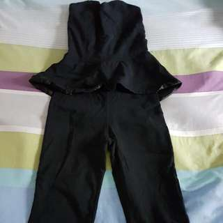 Zoo Black Strapless Peplum Jumpsuit