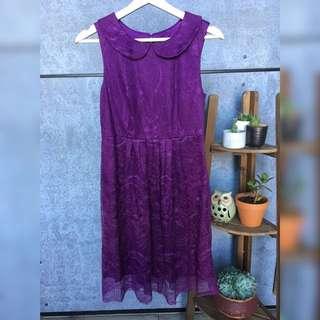 Mod Cloth Open Back Plum Lace Dress