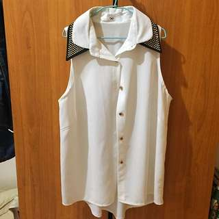 雪紡 氣質 無袖襯衫