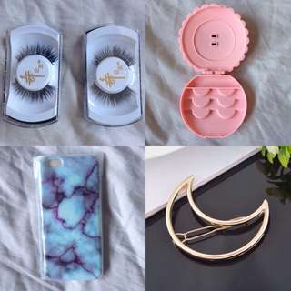 Cheap Bundle Deals: iPhone 6 / 6+ Case + 2 X Pair Of Eyelashes + Eyelash Storage Container + 2 X Gold Moon Hairclips