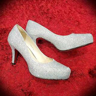 Silver Diamond Bling Heels Size 8 Good For Wedding
