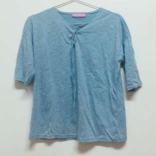 藍色中長袖tshirt