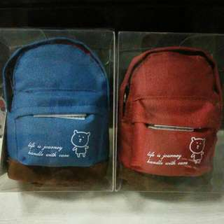 🚩Brand New Cute Red & Blue School Bag/Backpack Coin/Money Purse/Pouch Keychain