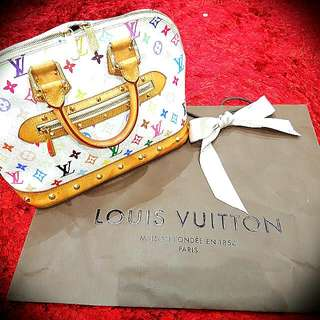 Authentic Vintage Louis Vuitton Murakami White Multicolor Monogram Alma PM Handbag Comes With Gift Bag