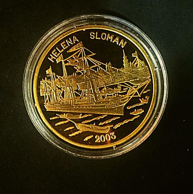2003 Korea Helena Sloman Ship 1 Won Brass-Golden Coin Proof-Struck