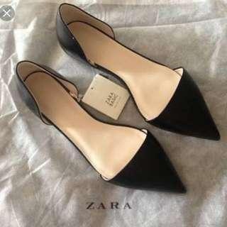 Zara Basic Black Point Toe Flats 37