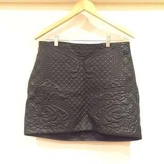 H&M Divided Pleather Skirt Embossed Patter 2016 Item