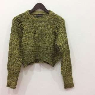 Something Borrowed Green Shreded Crop Sweater