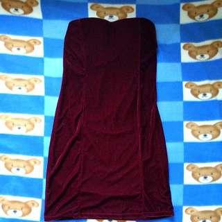 全新 酒紅色 連身短裙