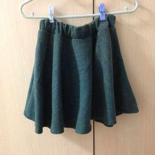 🚚 毛呢短裙-深孔雀綠
