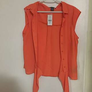 Suzy Shirt Orange Sleeveless Tie Top