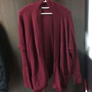 酒紅色針織外套