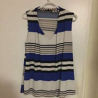 Blue, White And Black Striped Sleeveless Top From Suzy's
