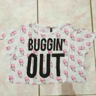 Hnm Ice Cream Cropped Tee Devided S