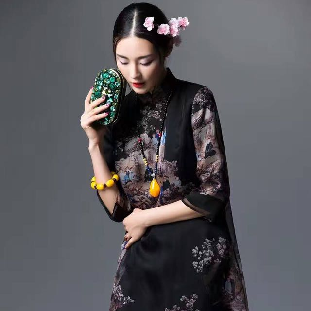 4e66f64fd Shanghai Tang Inspired, Ethnic chinese art print silk organza dress,  Women's Fashion, Clothes, Dresses & Skirts on Carousell