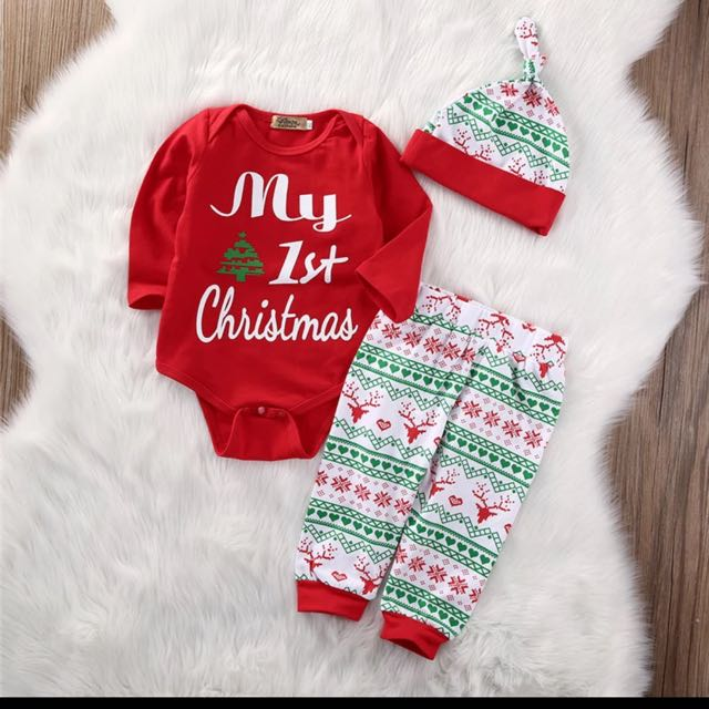 df8f17e8d078 3PCS Newborn Baby Boy Girls Rompers Sets My First Christmas Tops ...