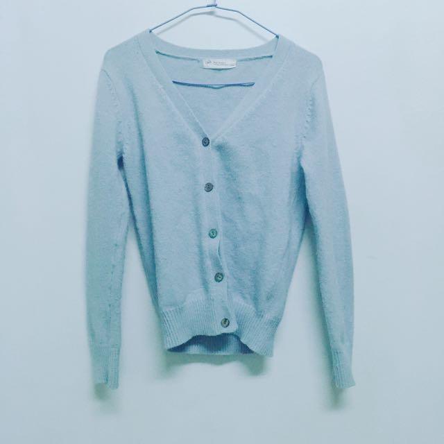 粉藍針織小外套