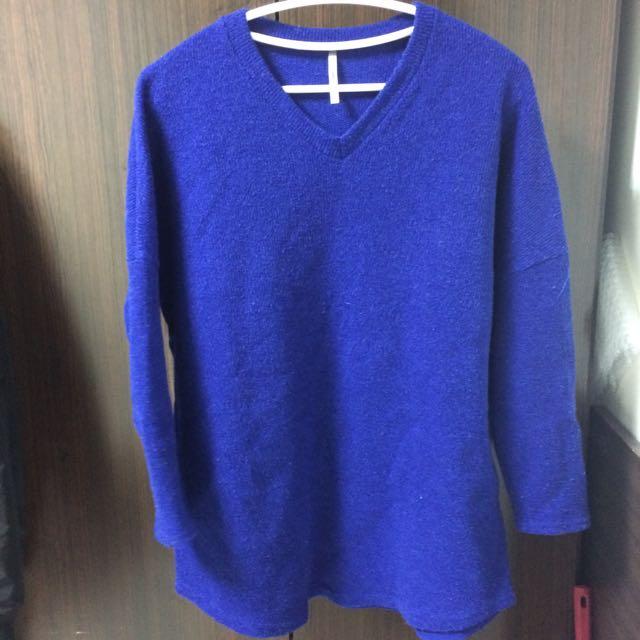 寶藍色毛衣