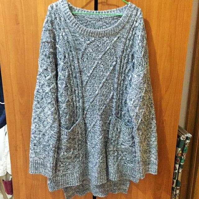 長版 混色 溫暖厚毛衣