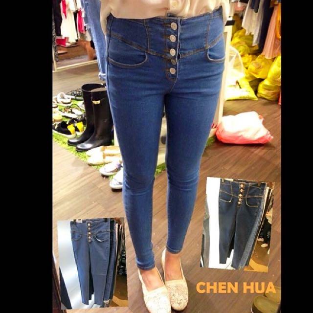 韓版 排釦造型 牛仔褲