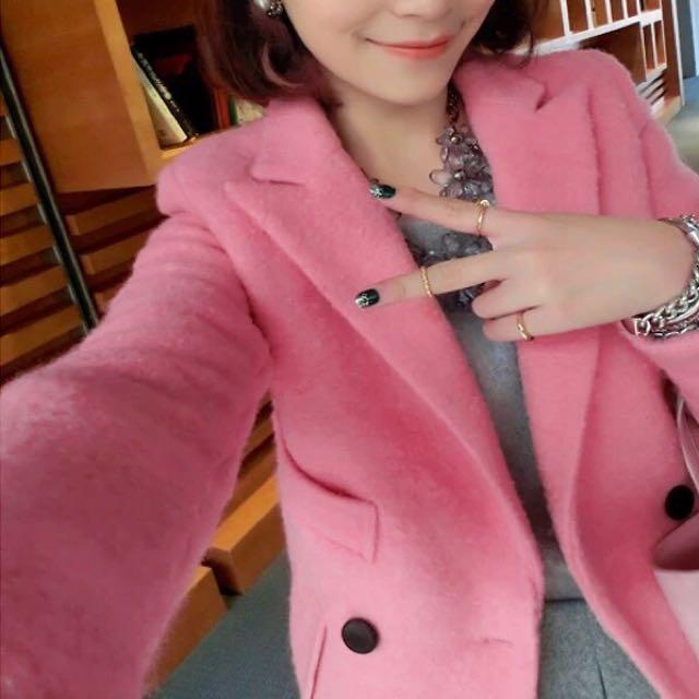 粉紅控快來🎉甜美粉紅開襟西裝領西裝釦長版大衣外套 水莎 starmimi Zara forever21 聖誕節 跨年