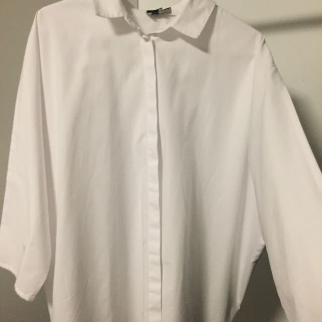 Asos White Button Up Shirt Size 10